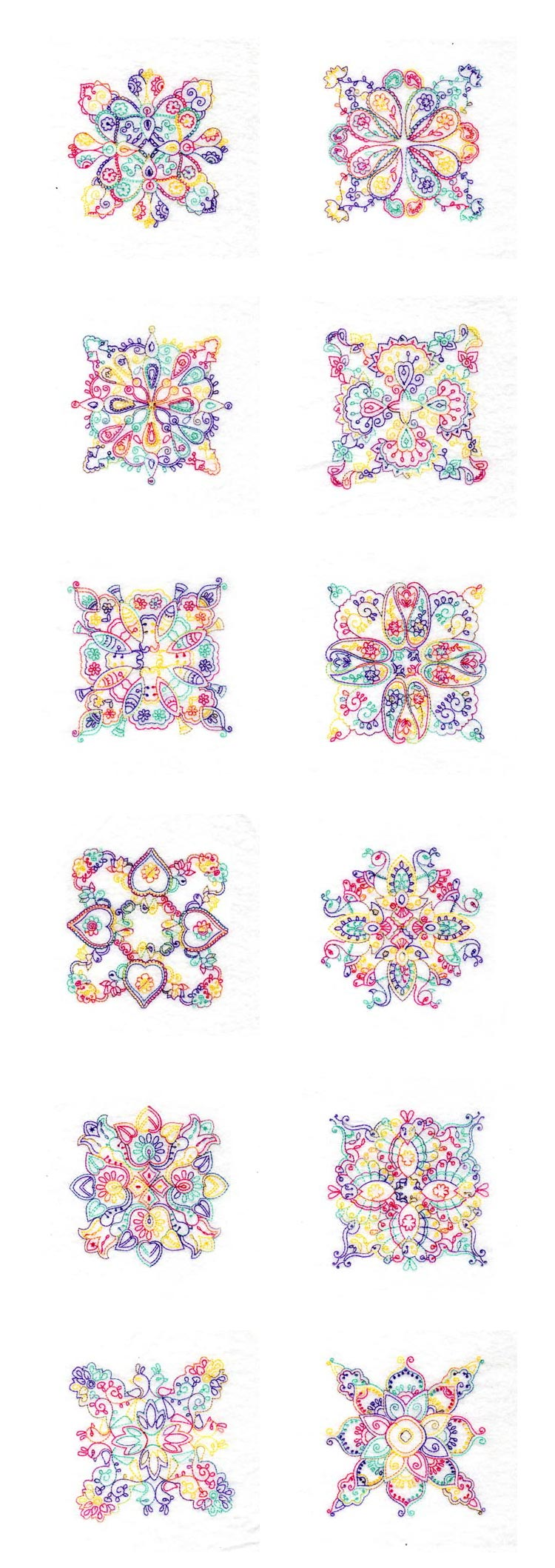 Paisley Quilt Blocks Embroidery Machine Design Details