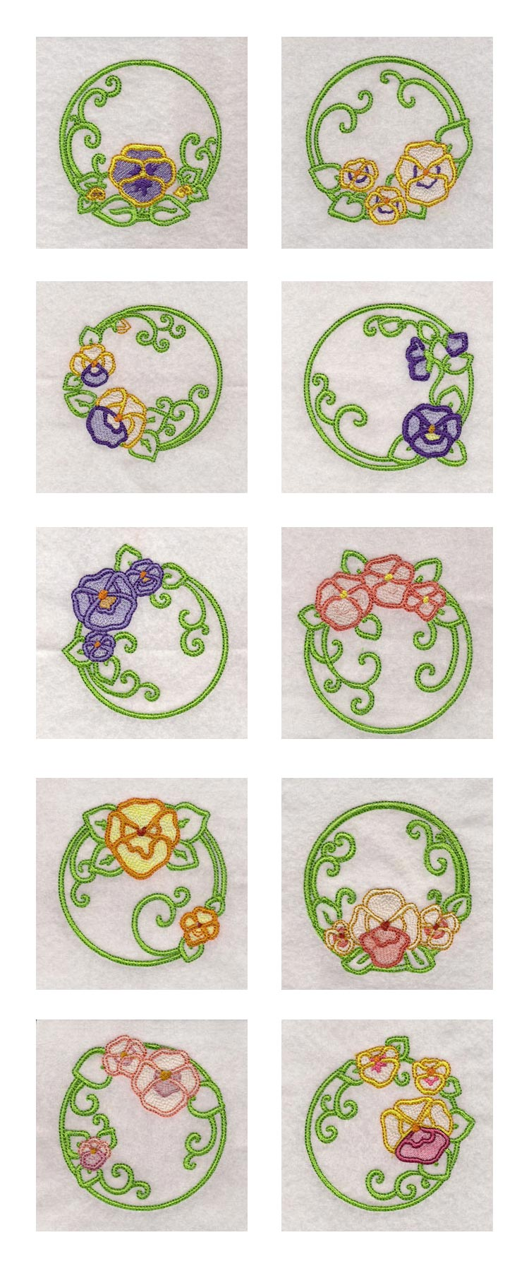 Pansies Circles Embroidery Machine Design Details