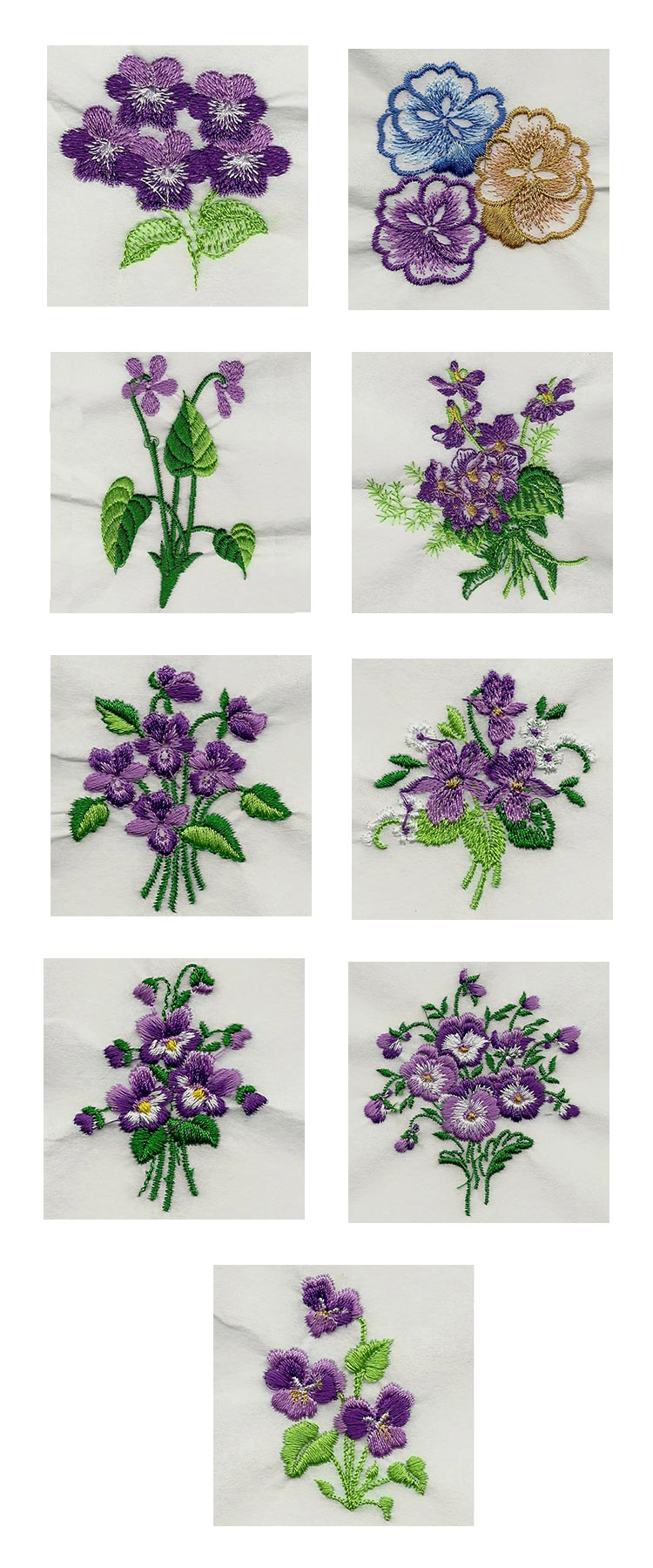 Pansies and Violets 2 Embroidery Machine Design Details