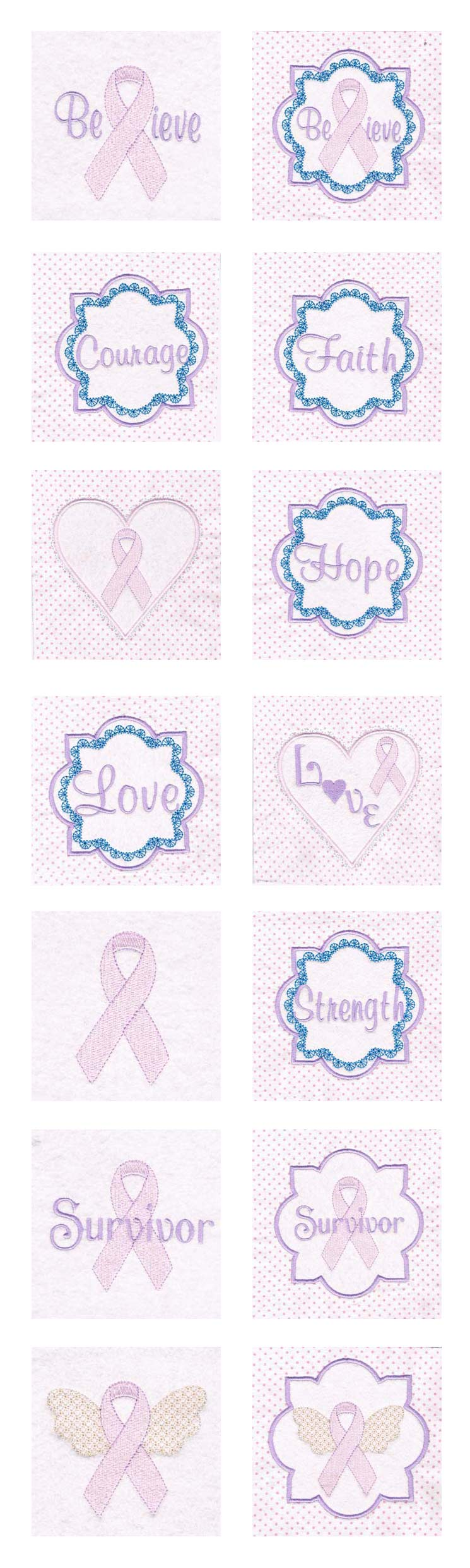 Pink Ribbon Blocks Embroidery Machine Design Details