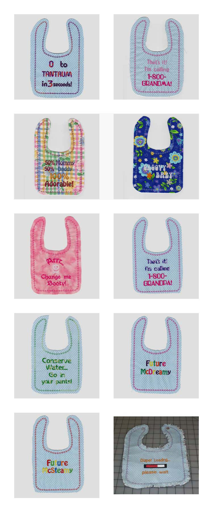 Baby Rag Bibs Embroidery Machine Design Details