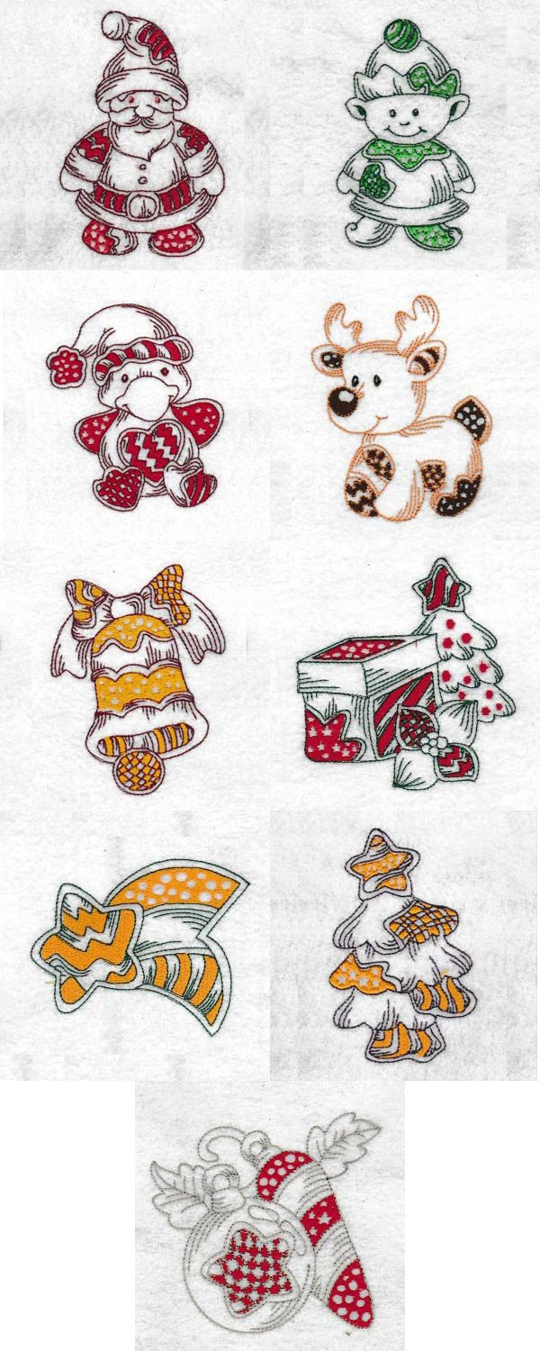 Rag Christmas Embroidery Machine Design Details