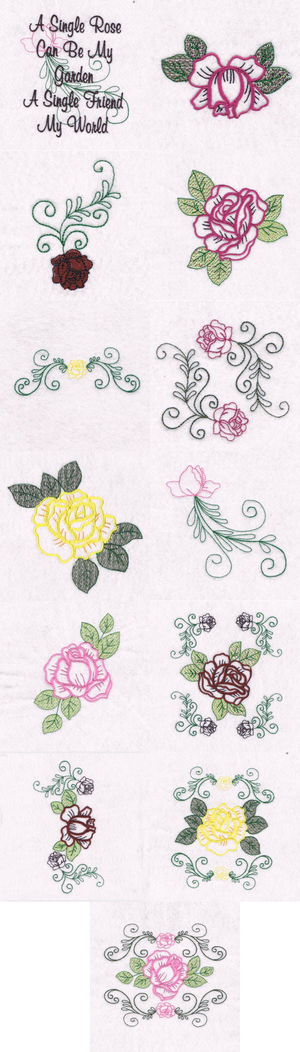 Machine embroidery designs rose garden set for Garden embroidery designs