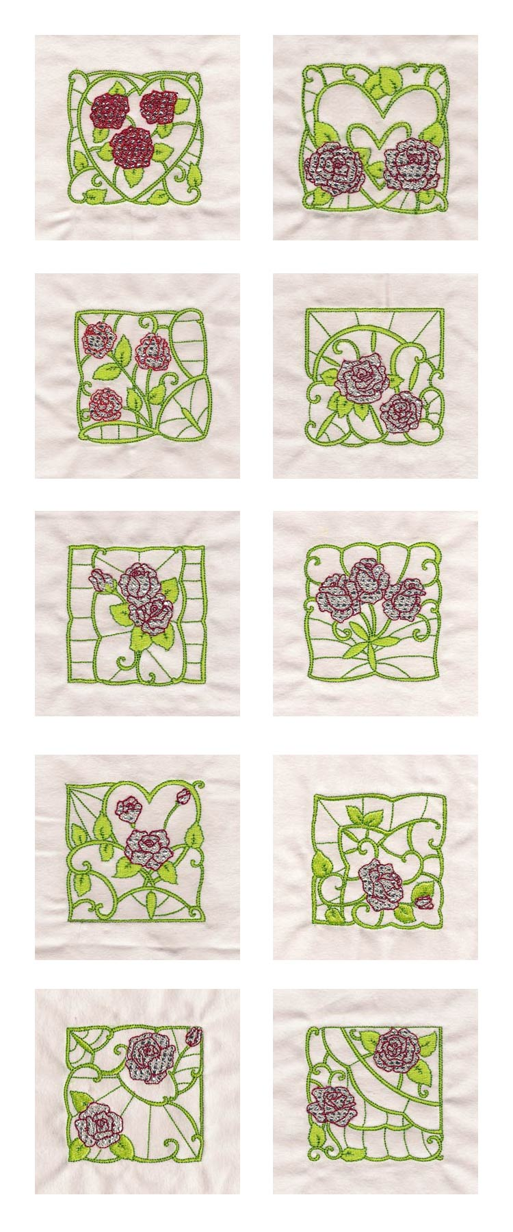 Mylar Rose Blocks Embroidery Machine Design Details