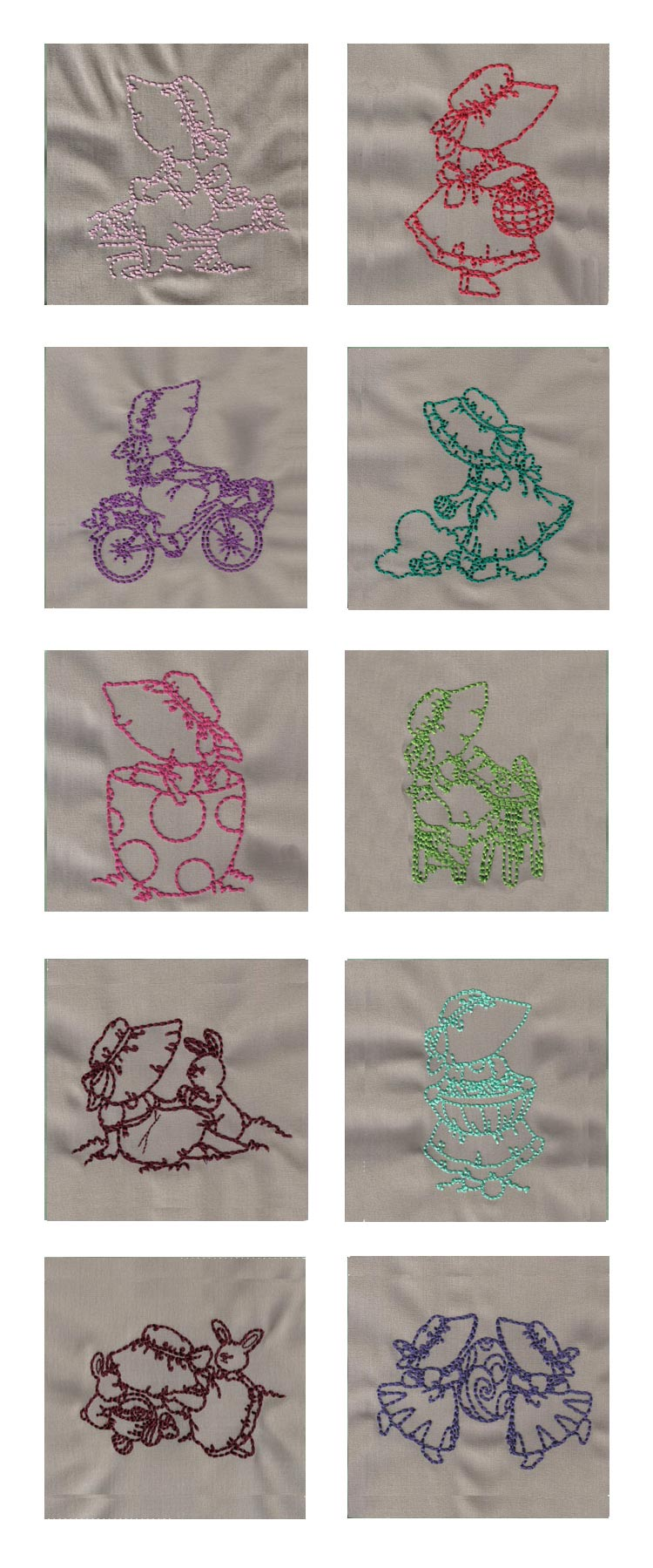 Redwork Easter Bonnets 2 Embroidery Machine Design Details