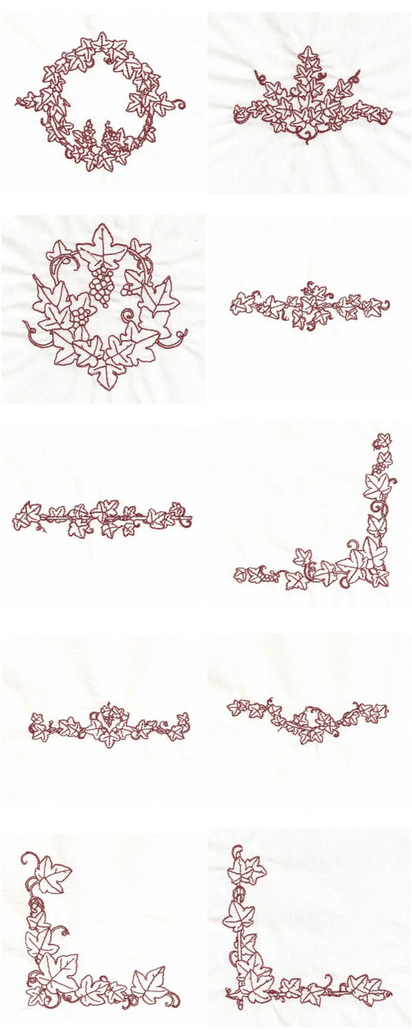 RW Grapes and Leaves Embroidery Machine Design Details