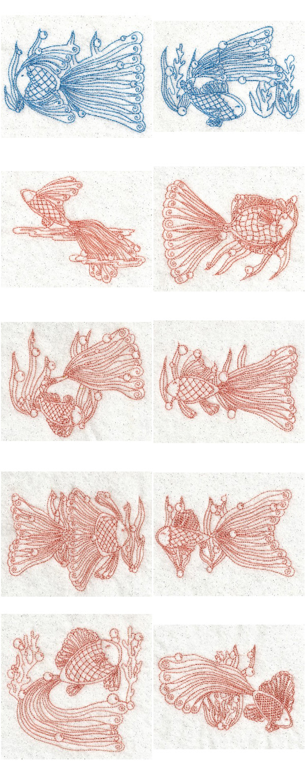 RW Lace Fish Embroidery Machine Design Details