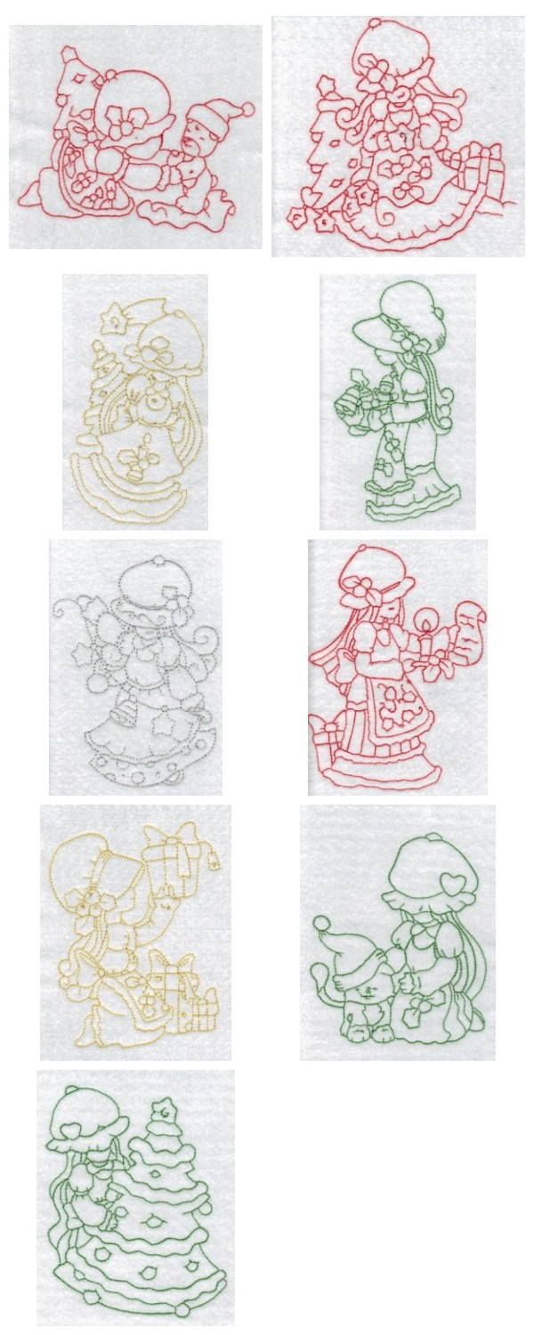 RW Sunbonnet Christmas Embroidery Machine Design Details