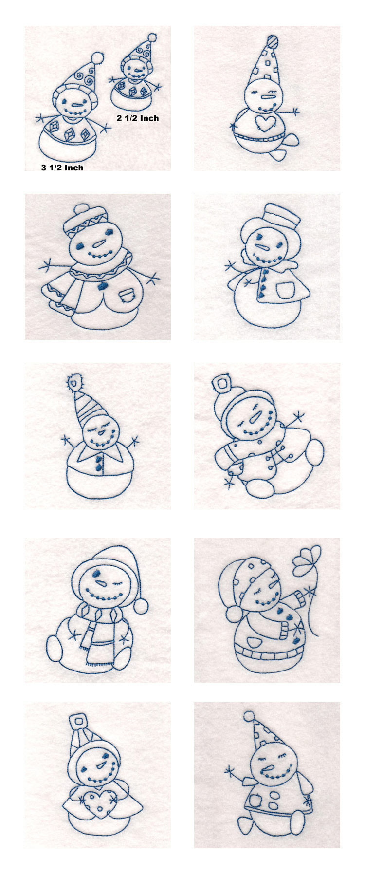 Sticky Bluework Snowmen Embroidery Machine Design Details