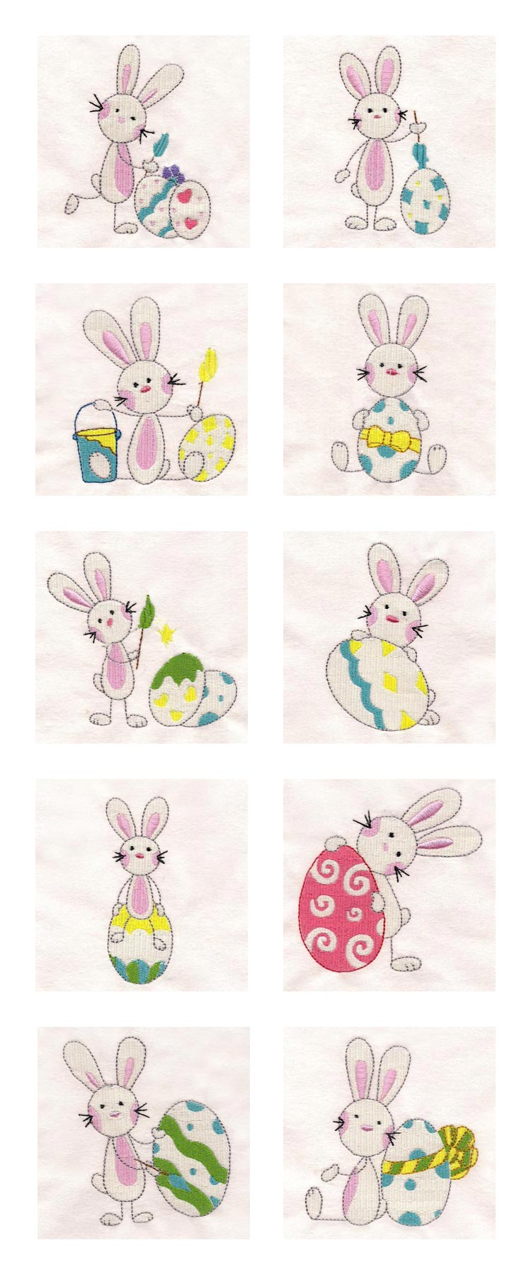 Sticky Easter Bunnies Embroidery Machine Design Details