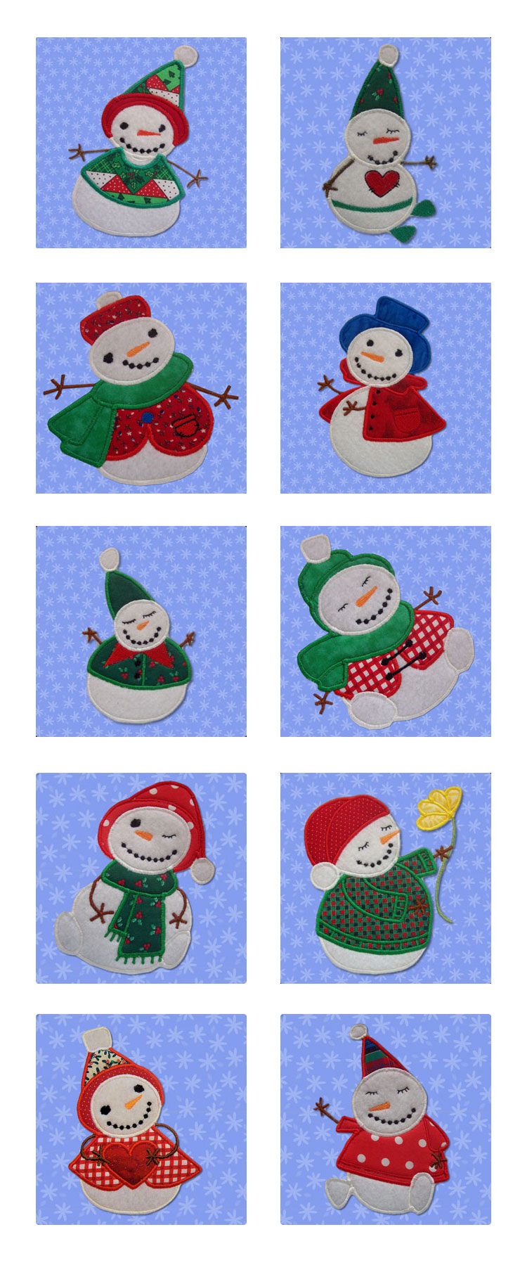 Sticky Snowmen Applique Embroidery Machine Design Details