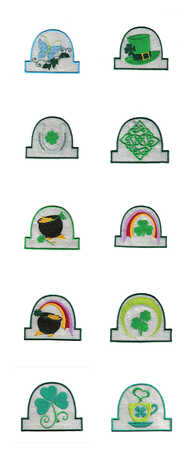 St Patricks Day Tea Light Holders Embroidery Machine Design Details