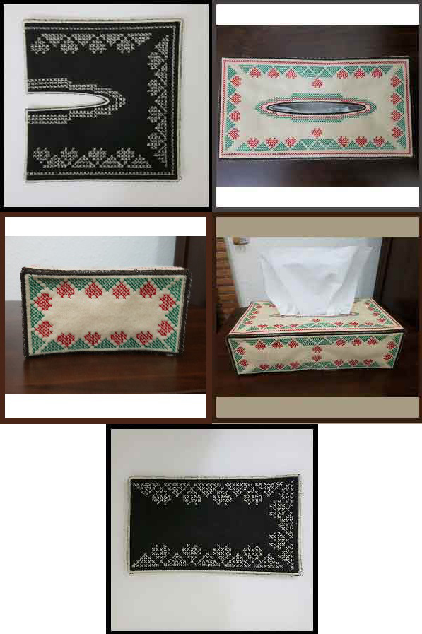 Cross Stitch Tissue Box Cover Embroidery Machine Design Details