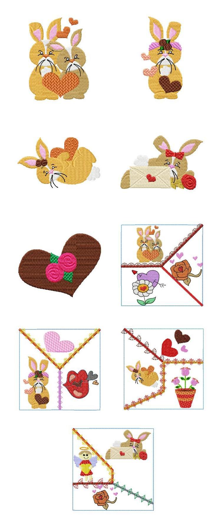 Valentine bunnies machine embroidery designs ebay