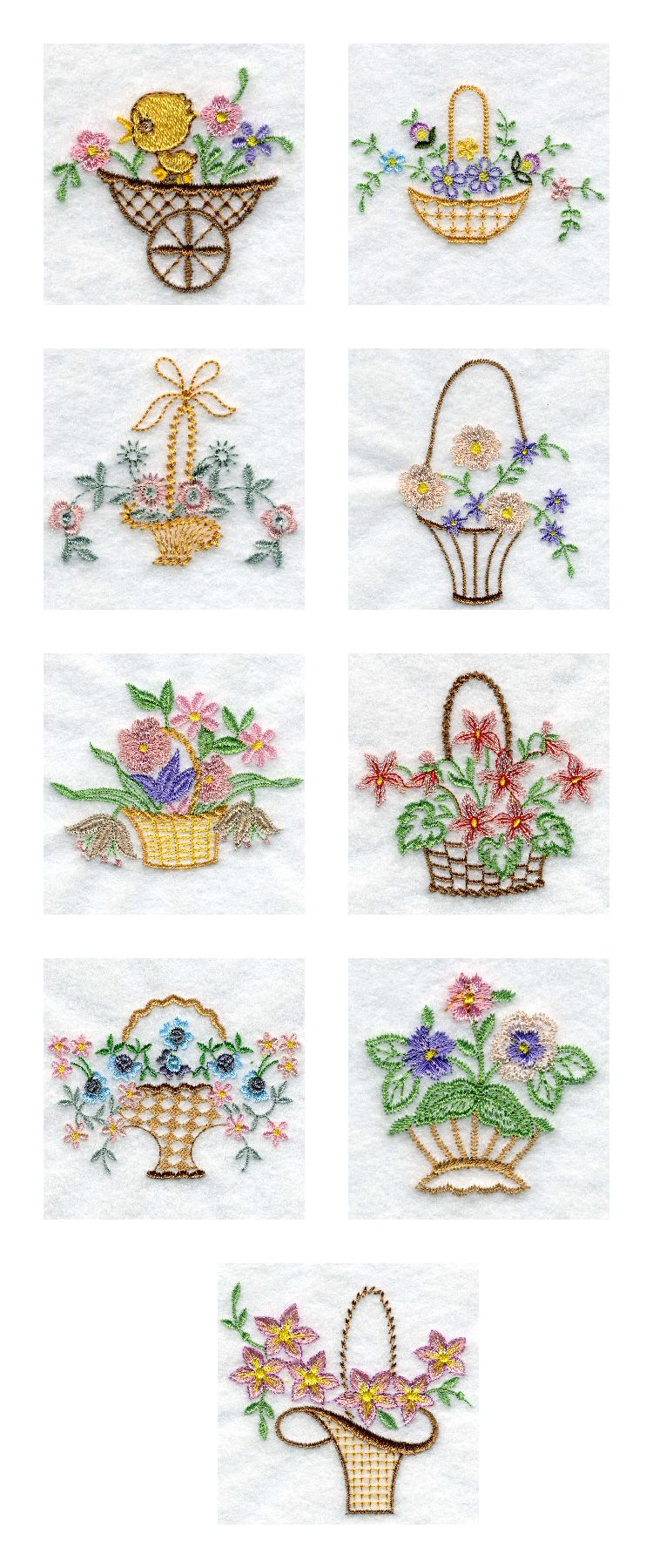 Vintage Baskets 2 Embroidery Machine Design Details