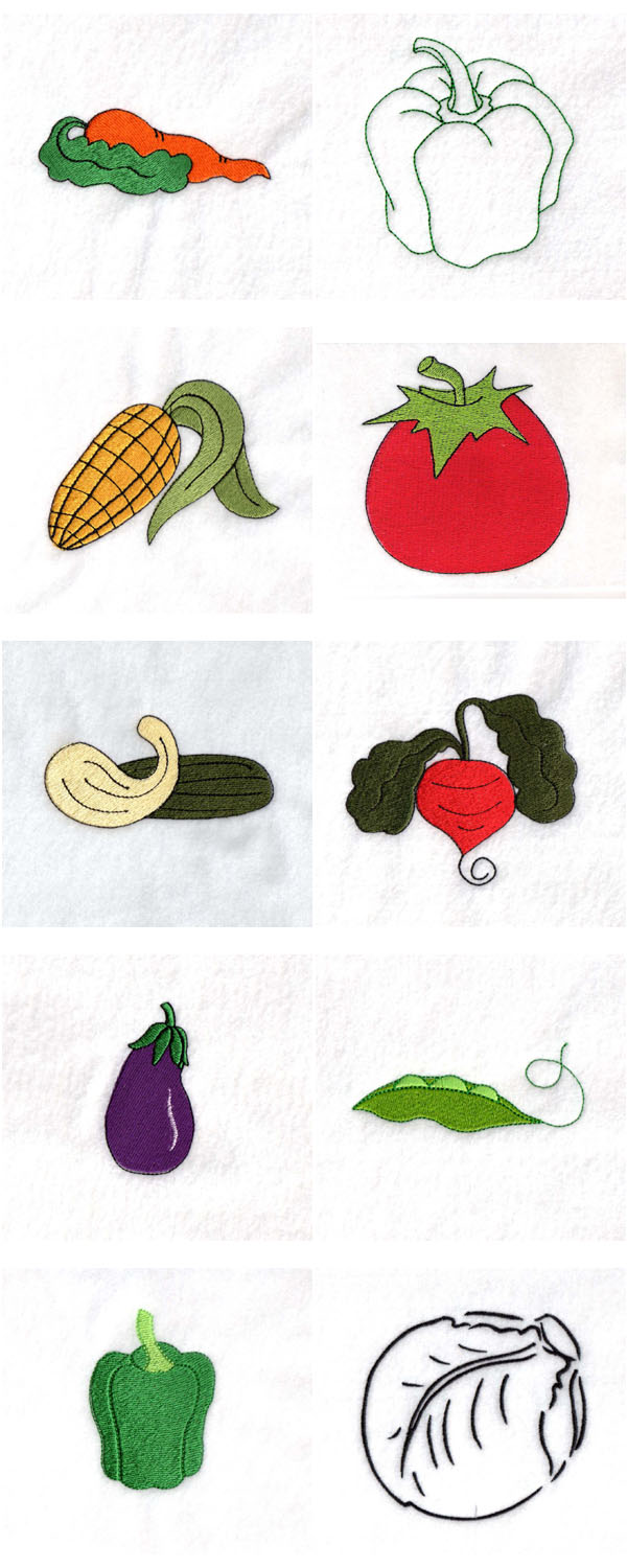 Veggies Embroidery Machine Design Details