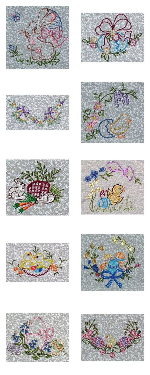 Vintage Easter Embroidery Machine Design Details