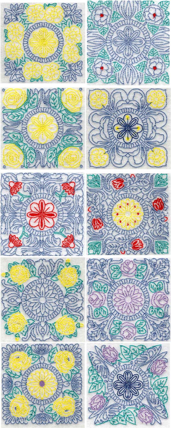 Embroidery Patterns For Quilt Squares : Vintage Quilting Blocks Machine Embroidery Designs eBay