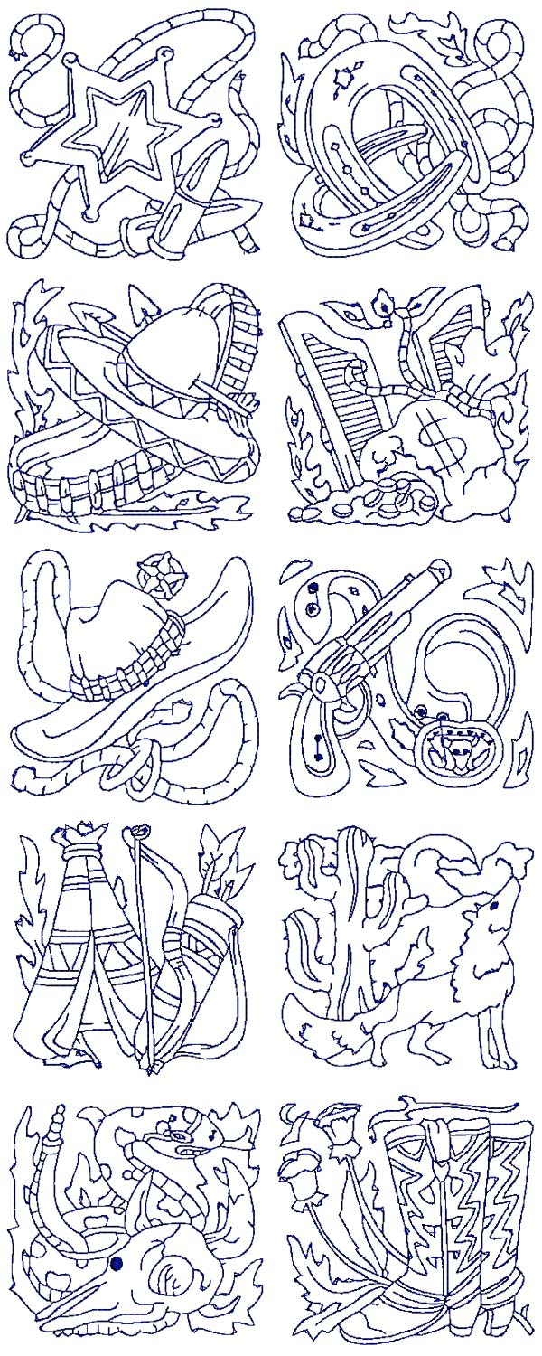 Western embroidery patterns makaroka machine embroidery designs western quilt blocks set bankloansurffo Gallery
