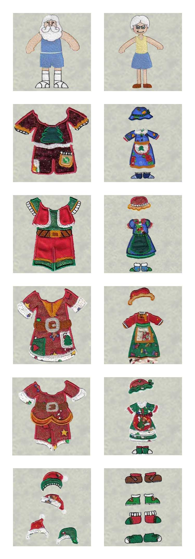 Mr and Mrs Santa Paper Dolls Embroidery Machine Design Details