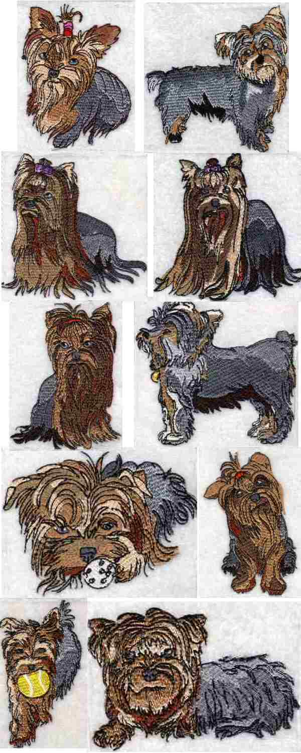 Yorkie embroidery design « origami