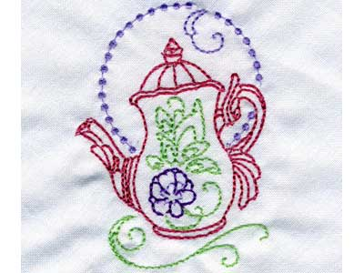 Decorative Teapots Embroidery Machine Design
