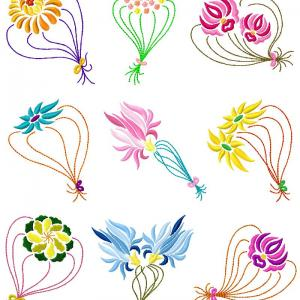 Floating Flowers Embroidery Machine Design