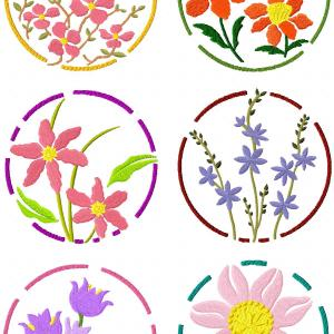 Floral Circles Embroidery Machine Design