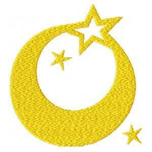 Moon And Stars Font Embroidery Machine Design