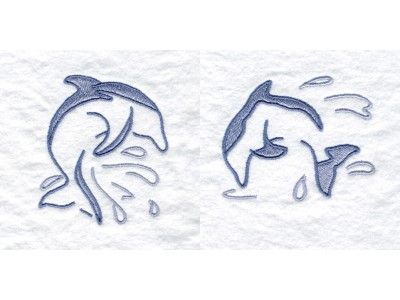 Dolphins Line Work Embroidery Machine Design
