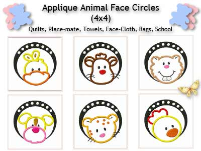 Applique Animal Faces Circles
