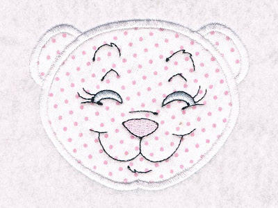 Applique Bear Faces Embroidery Machine Design