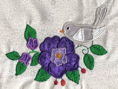 Machine embroidery designs applique birds and flowers set