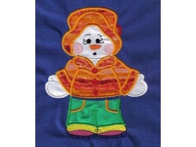 Applique Dress Up Snowman Embroidery Machine Design