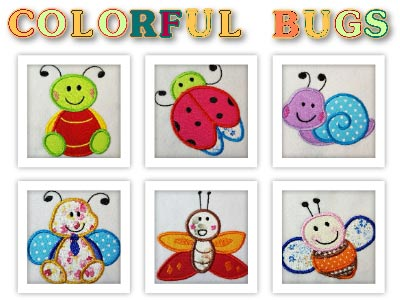 Applique Quilting Bugs Embroidery Machine Design