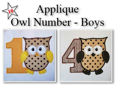 Applique Owl Boy Numbers Embroidery Machine Design