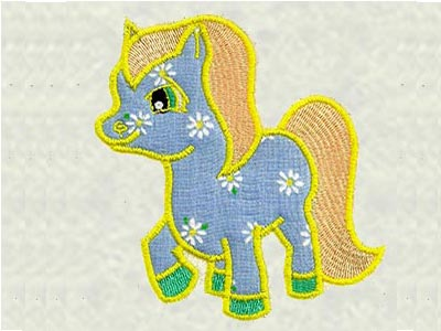 Applique Ponies Embroidery Machine Design