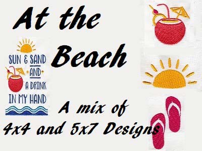 At The Beach Embroidery Machine Design