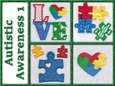 Autistic Awareness 1 Embroidery Machine Design