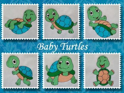 Baby Turtles Embroidery Machine Design