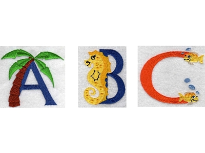 Beach Alphabet Embroidery Machine Design
