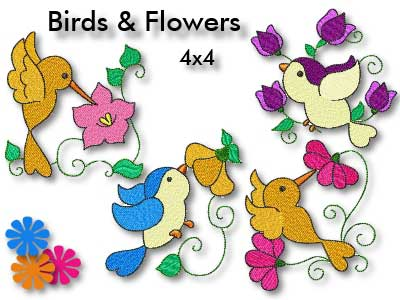 Birds and Flowers 4x4 Embroidery Machine Design