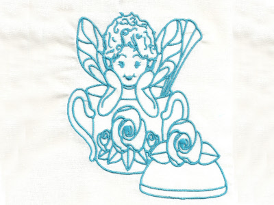 Bluework Teaset Fairies Embroidery Machine Design