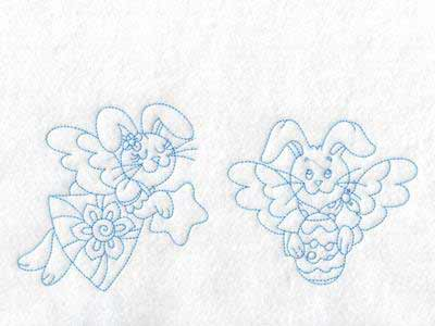 Bunny Angels Embroidery Machine Design