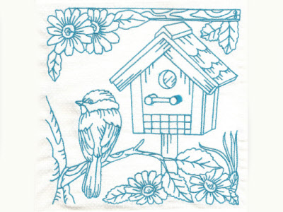 Bluework Birds and Birdhouses Embroidery Machine Design