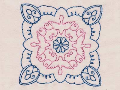 Blue Doves and Flowers Quilt Blocks Embroidery Machine Design