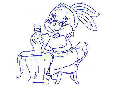 Bluework Granny Bunny Sewing Embroidery Machine Design