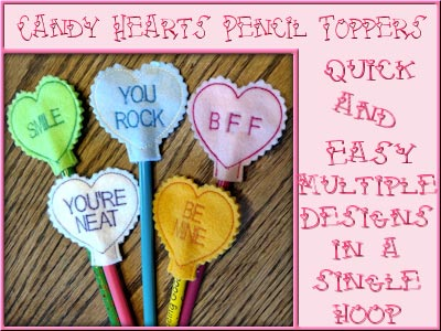 Candy Heart Pencil Toppers