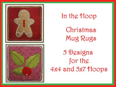 Christmas Mug Rugs In The Hoop
