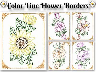 Color Line Flower Borders